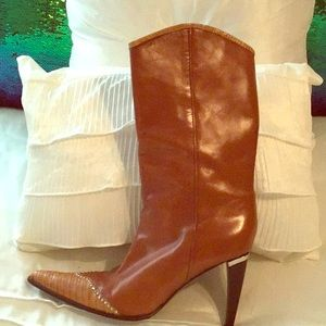 Cognac Calf boots with Lizard on the toe